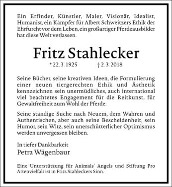 Fritz Stahlecker ist gestorben